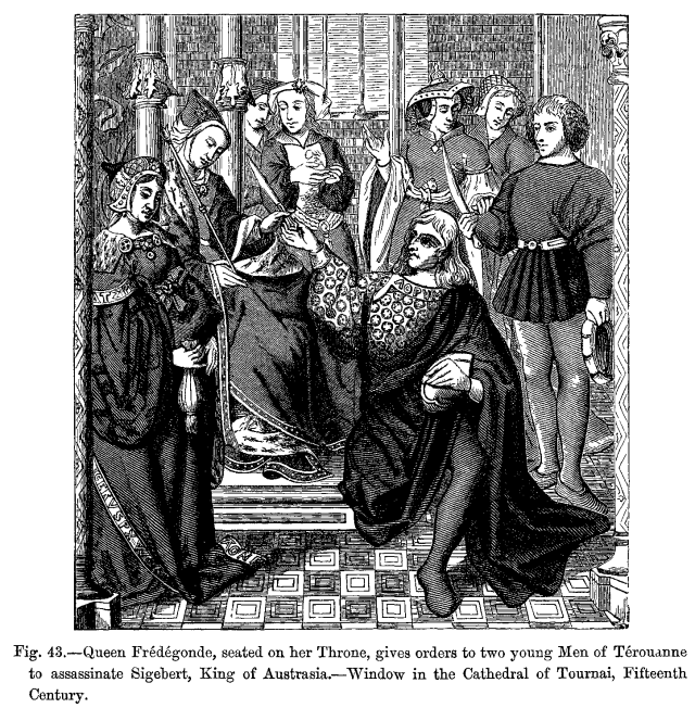 queen_fredegonde_seated_on_her_throne_gives_orders_to_two_young_men_of_terouanne_to_assassinate_sigebert_king_of_austrasia_window_in_the_cathedral_of_tournai_fifteenth_c