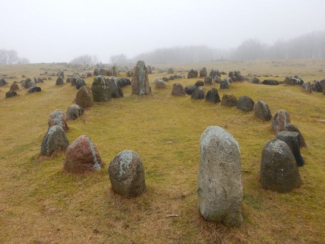 Ship stone setting from the Iron Age and Viking Age cemetery at Lindholm Høje, northern Jutland, Denmark.